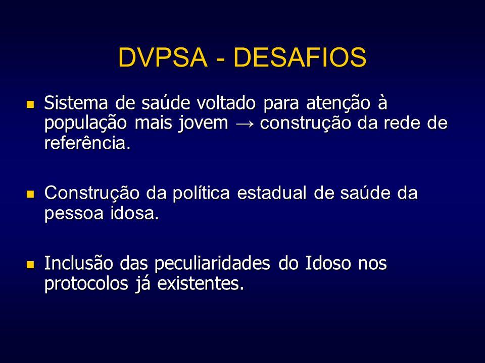 DVPSA - DESAFIOS Sistema de saúde voltado para atenção à população mais jovem → construção da rede de referência.