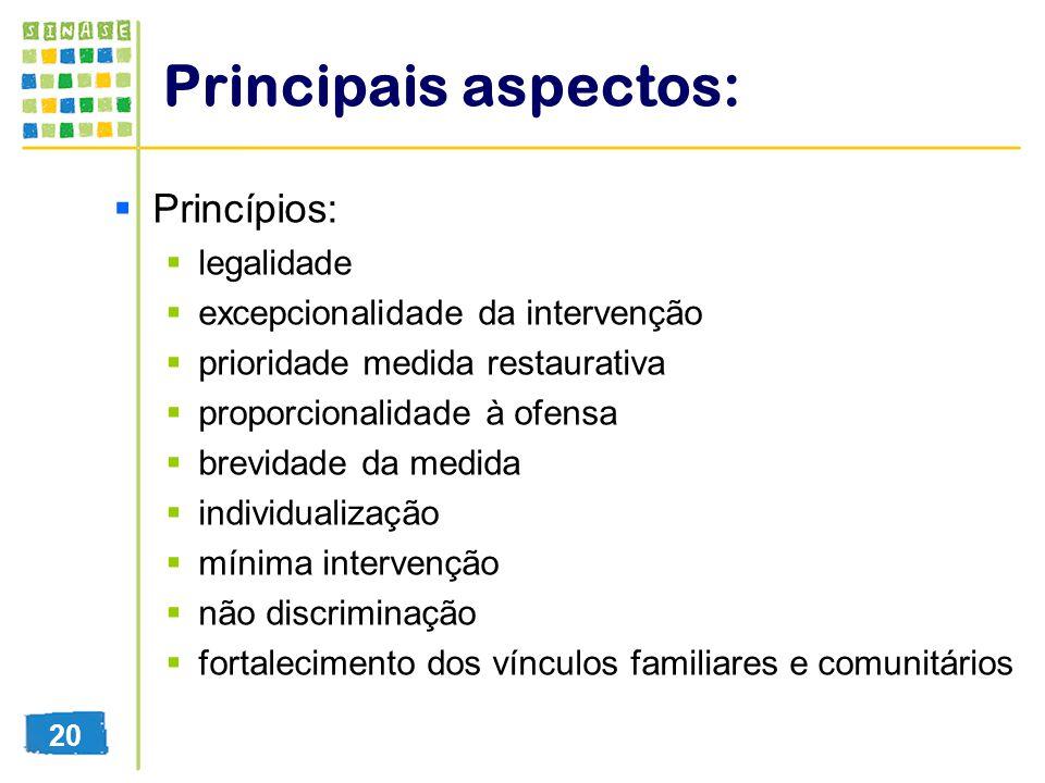 Principais aspectos: Princípios: legalidade