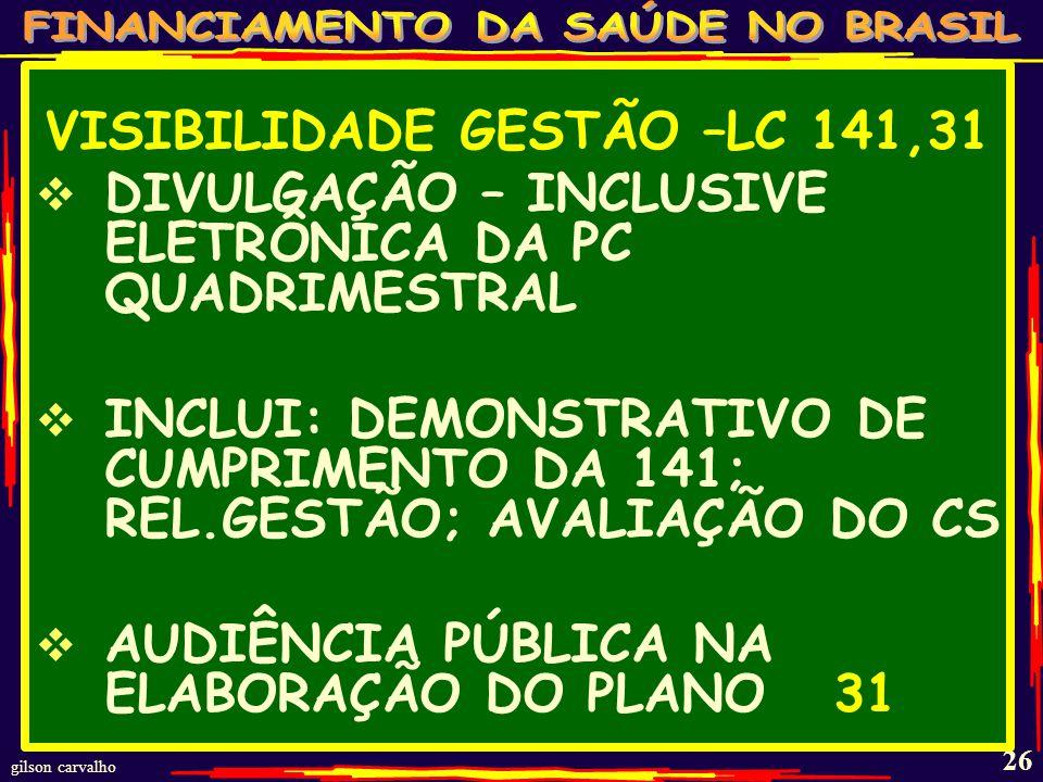 VISIBILIDADE GESTÃO –LC 141,31