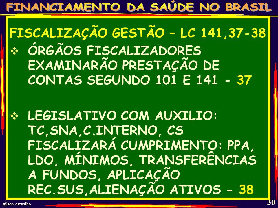 FISCALIZAÇÃO GESTÃO – LC 141,37-38