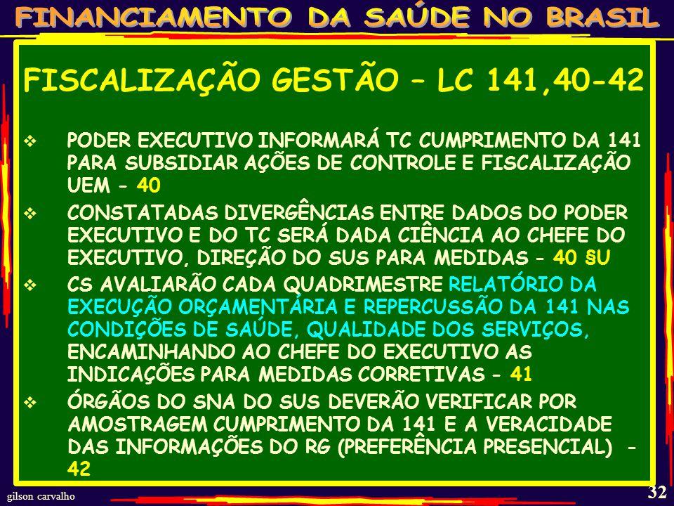 FISCALIZAÇÃO GESTÃO – LC 141,40-42