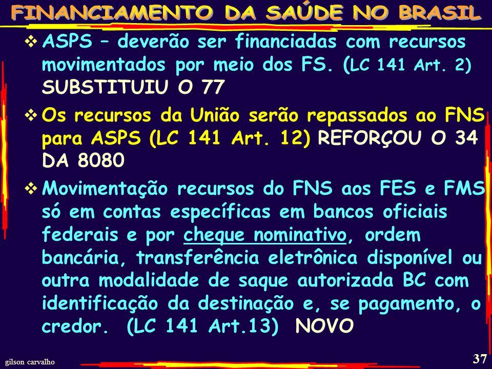 ASPS – deverão ser financiadas com recursos movimentados por meio dos FS. (LC 141 Art. 2) SUBSTITUIU O 77