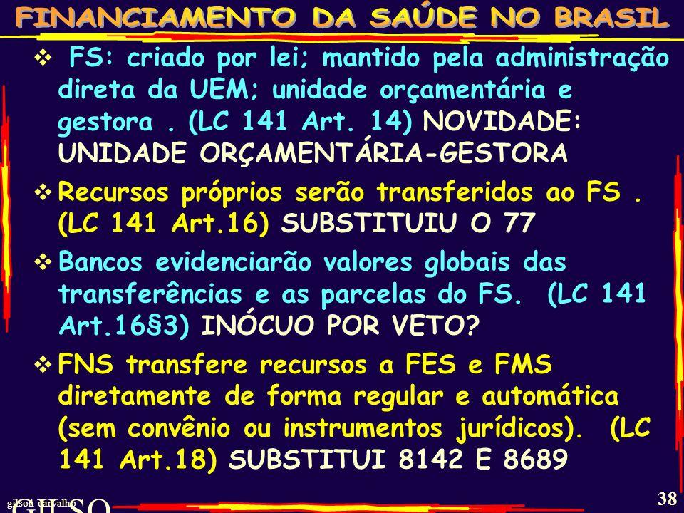 FS: criado por lei; mantido pela administração direta da UEM; unidade orçamentária e gestora . (LC 141 Art. 14) NOVIDADE: UNIDADE ORÇAMENTÁRIA-GESTORA