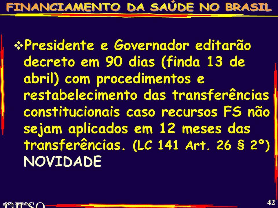 Presidente e Governador editarão decreto em 90 dias (finda 13 de abril) com procedimentos e restabelecimento das transferências constitucionais caso recursos FS não sejam aplicados em 12 meses das transferências. (LC 141 Art. 26 § 2º) NOVIDADE