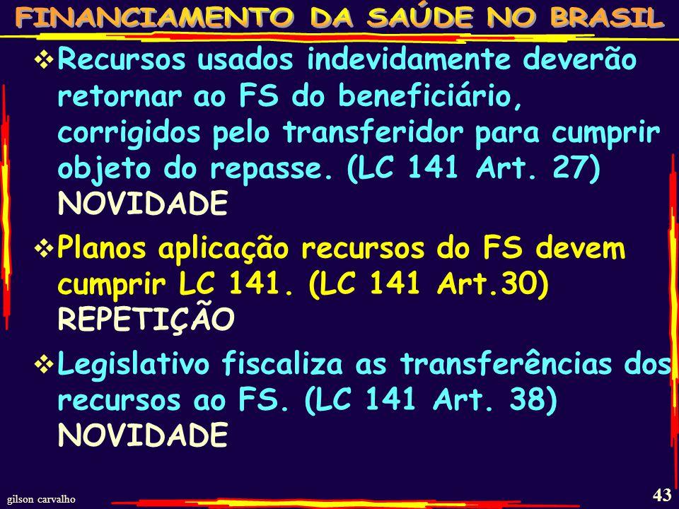 Recursos usados indevidamente deverão retornar ao FS do beneficiário, corrigidos pelo transferidor para cumprir objeto do repasse. (LC 141 Art. 27) NOVIDADE