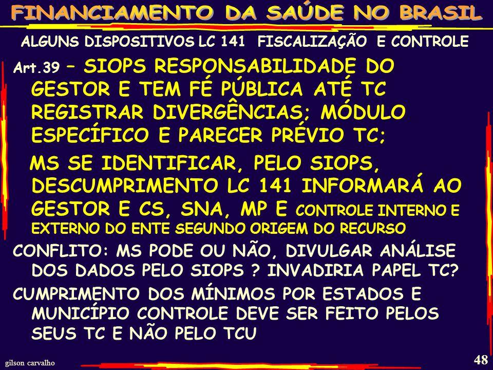 ALGUNS DISPOSITIVOS LC 141 FISCALIZAÇÃO E CONTROLE