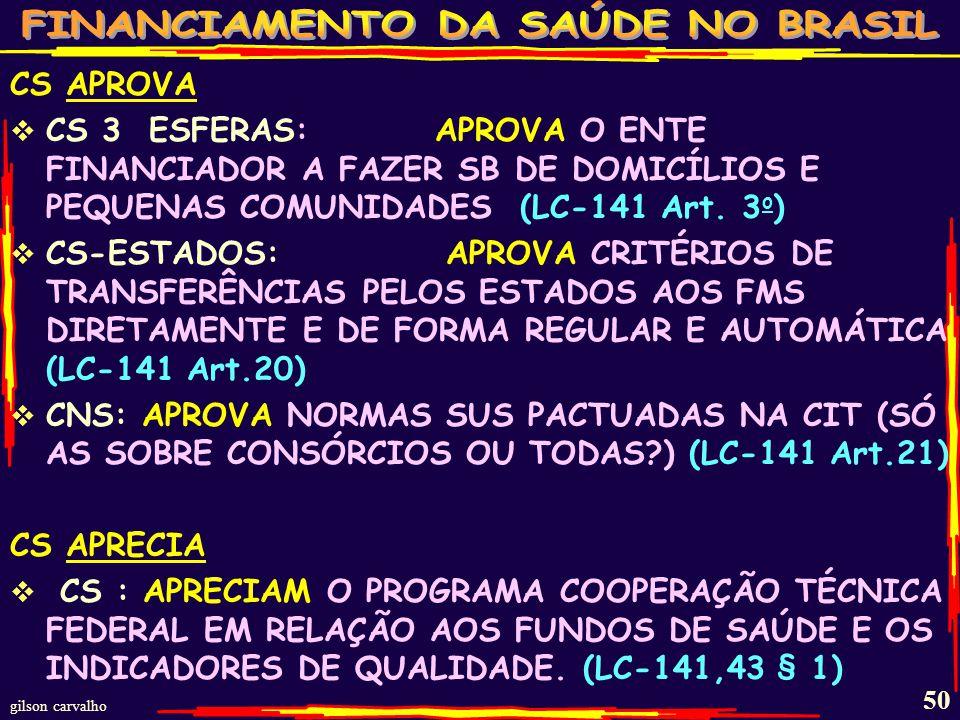 CS APROVA CS 3 ESFERAS: APROVA O ENTE FINANCIADOR A FAZER SB DE DOMICÍLIOS E PEQUENAS COMUNIDADES (LC-141 Art. 3o)
