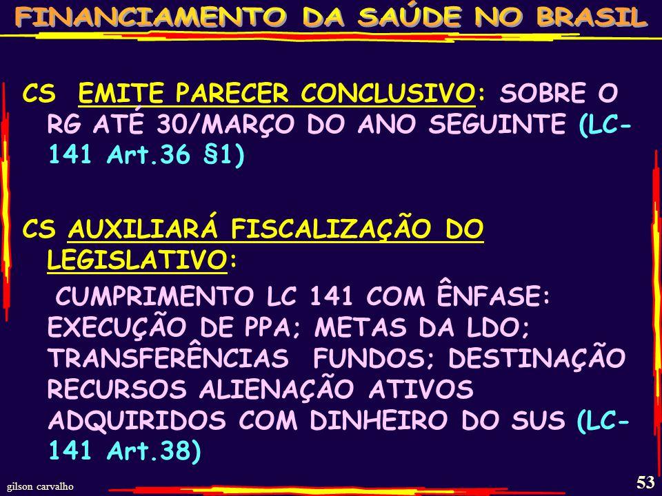 CS EMITE PARECER CONCLUSIVO: SOBRE O RG ATÉ 30/MARÇO DO ANO SEGUINTE (LC-141 Art.36 §1)