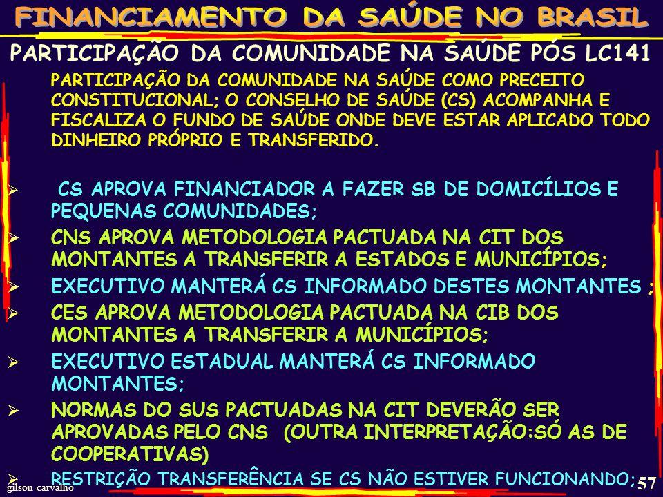 PARTICIPAÇÃO DA COMUNIDADE NA SAÚDE PÓS LC141
