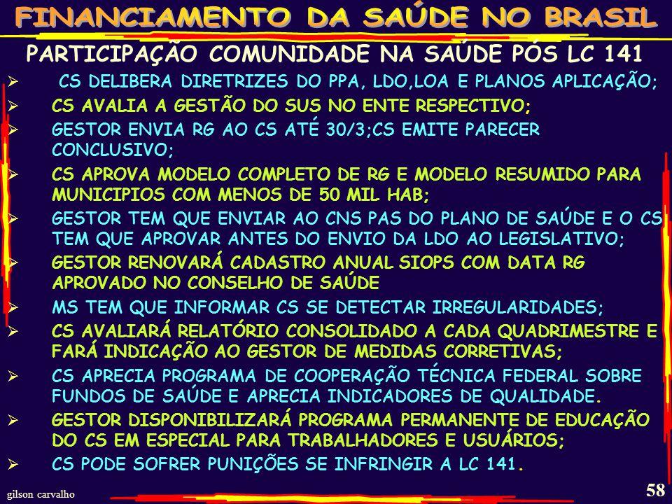 PARTICIPAÇÃO COMUNIDADE NA SAÚDE PÓS LC 141