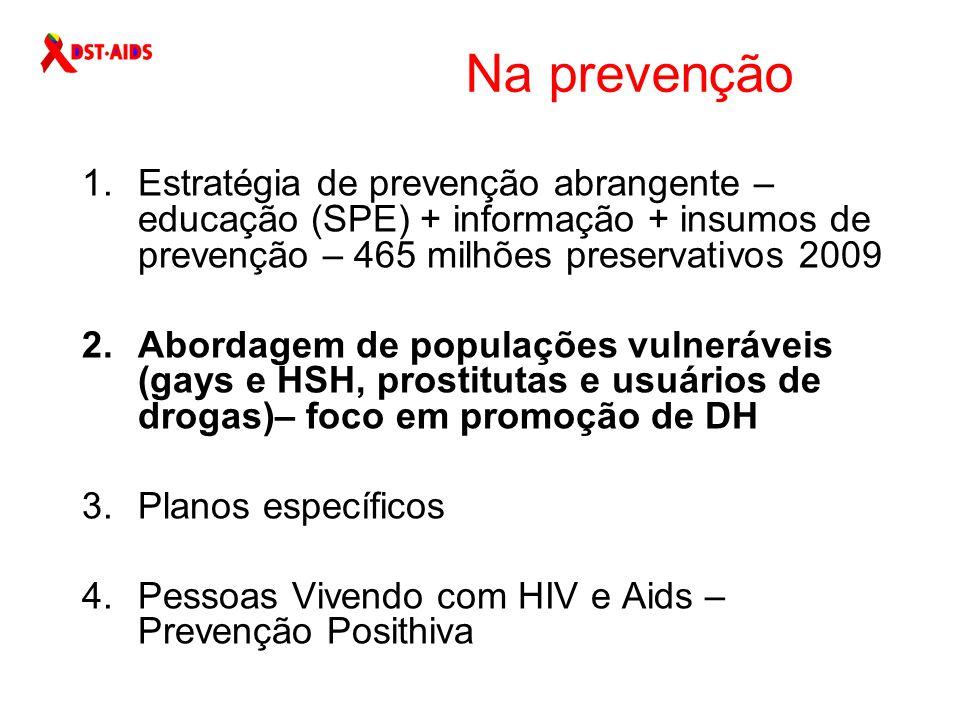 Na prevenção Estratégia de prevenção abrangente – educação (SPE) + informação + insumos de prevenção – 465 milhões preservativos 2009.