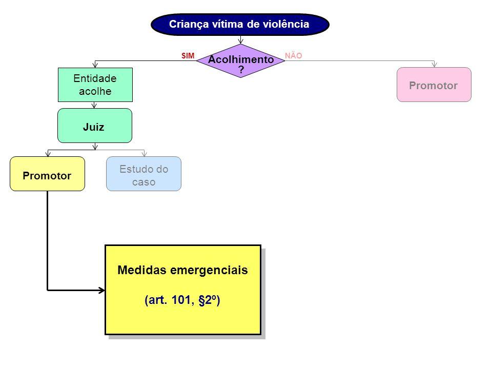 Criança vítima de violência Medidas emergenciais (art. 101, §2º)