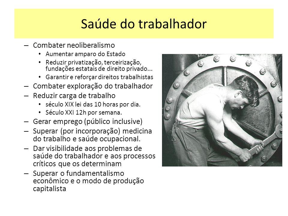 Saúde do trabalhador Combater neoliberalismo