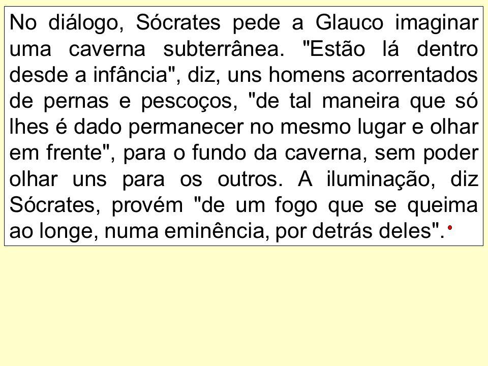 No diálogo, Sócrates pede a Glauco imaginar uma caverna subterrânea