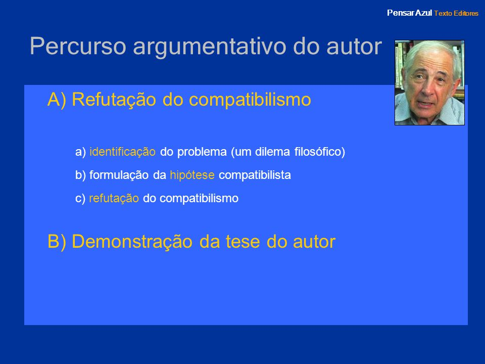 Percurso argumentativo do autor