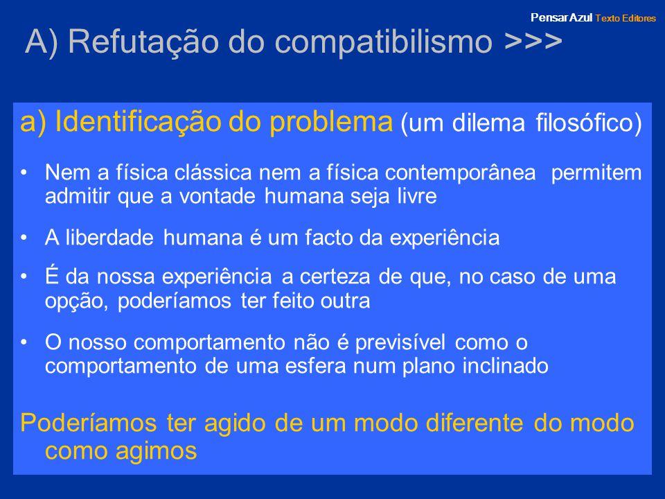 A) Refutação do compatibilismo >>>