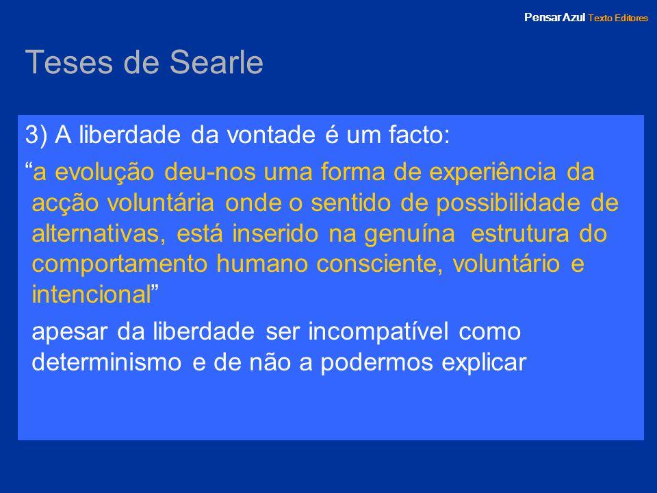 Teses de Searle 3) A liberdade da vontade é um facto:
