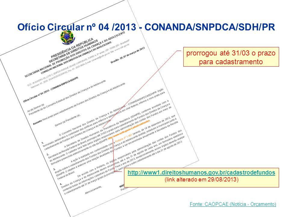 Ofício Circular nº 04 /2013 - CONANDA/SNPDCA/SDH/PR