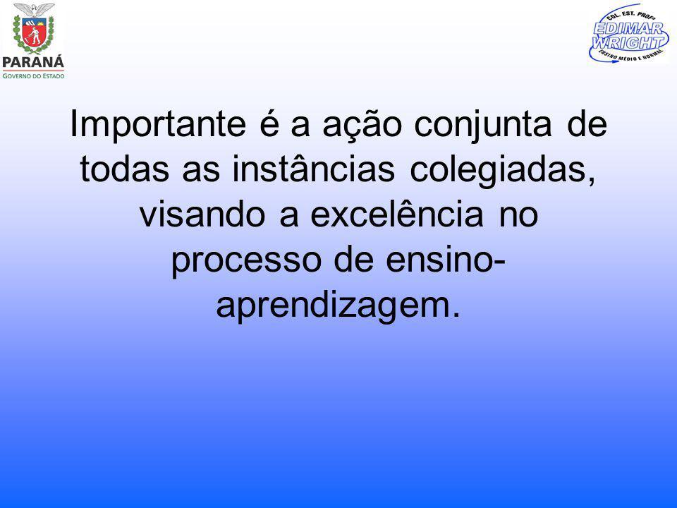 Importante é a ação conjunta de todas as instâncias colegiadas, visando a excelência no processo de ensino-aprendizagem.