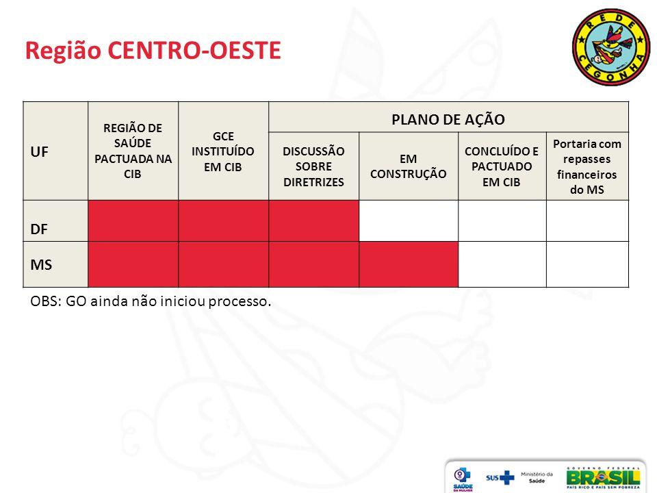 Região CENTRO-OESTE PLANO DE AÇÃO UF DF MS
