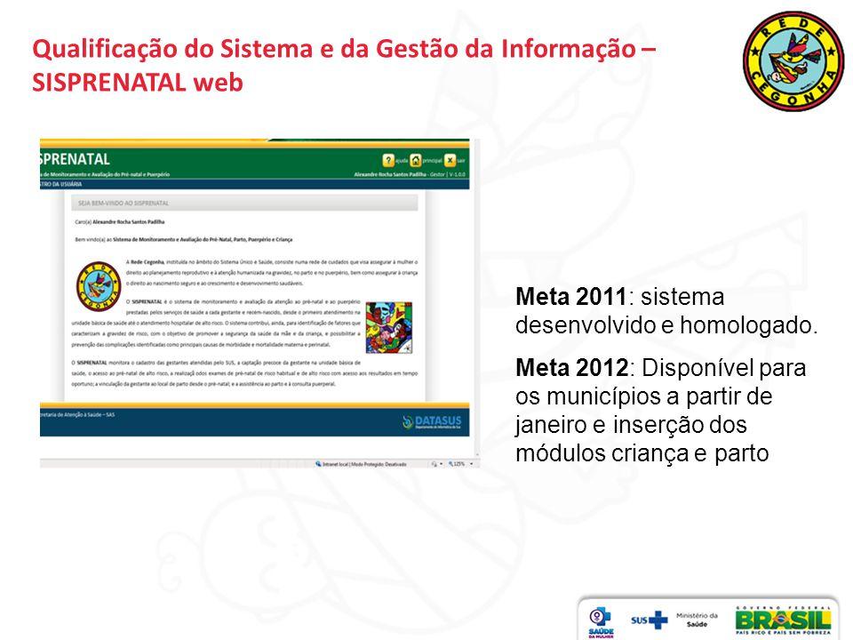 Qualificação do Sistema e da Gestão da Informação – SISPRENATAL web