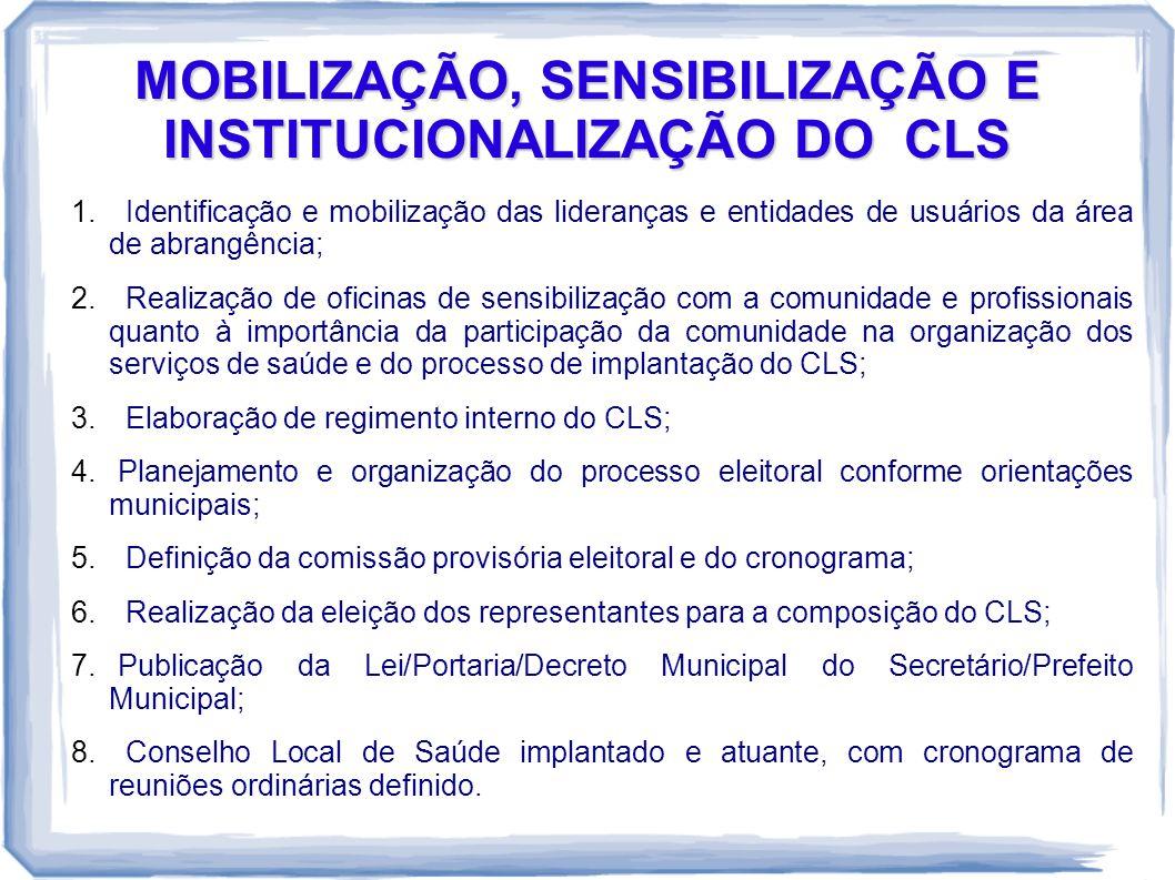 MOBILIZAÇÃO, SENSIBILIZAÇÃO E INSTITUCIONALIZAÇÃO DO CLS