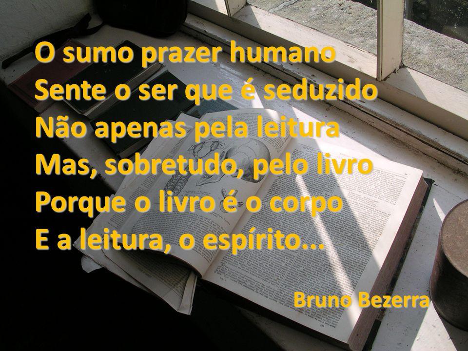 O sumo prazer humano Sente o ser que é seduzido Não apenas pela leitura Mas, sobretudo, pelo livro Porque o livro é o corpo E a leitura, o espírito...