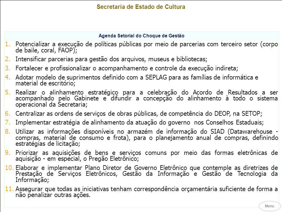 Secretaria de Estado de Cultura Agenda Setorial do Choque de Gestão