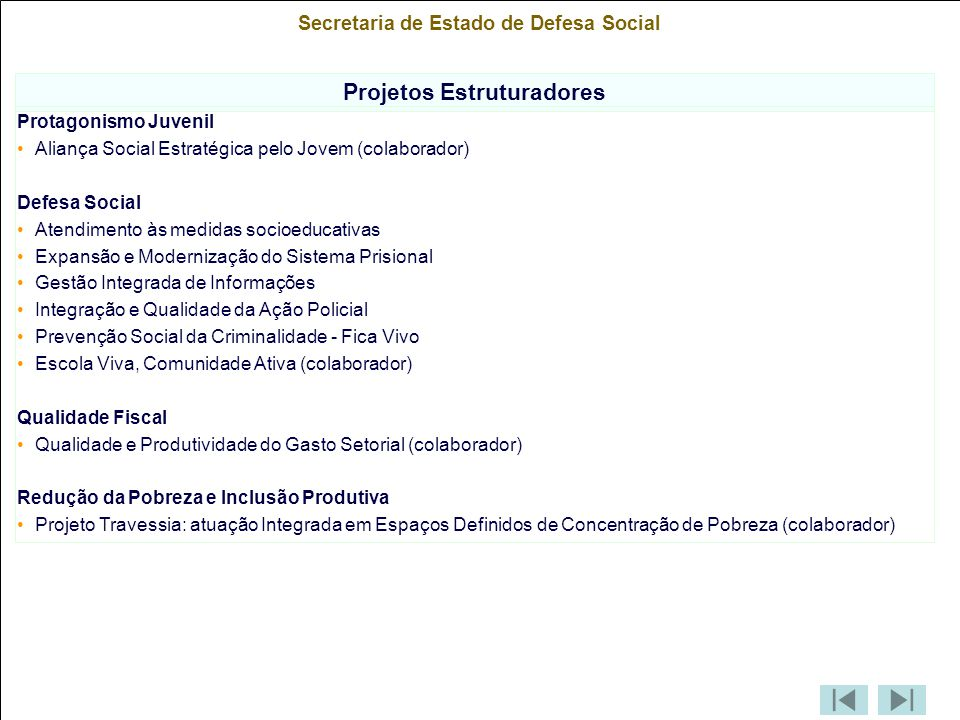 Secretaria de Estado de Defesa Social Projetos Estruturadores