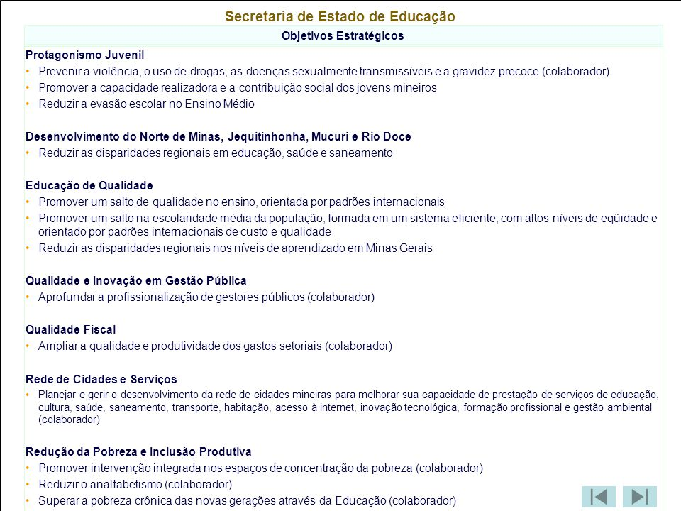 Secretaria de Estado de Educação Objetivos Estratégicos