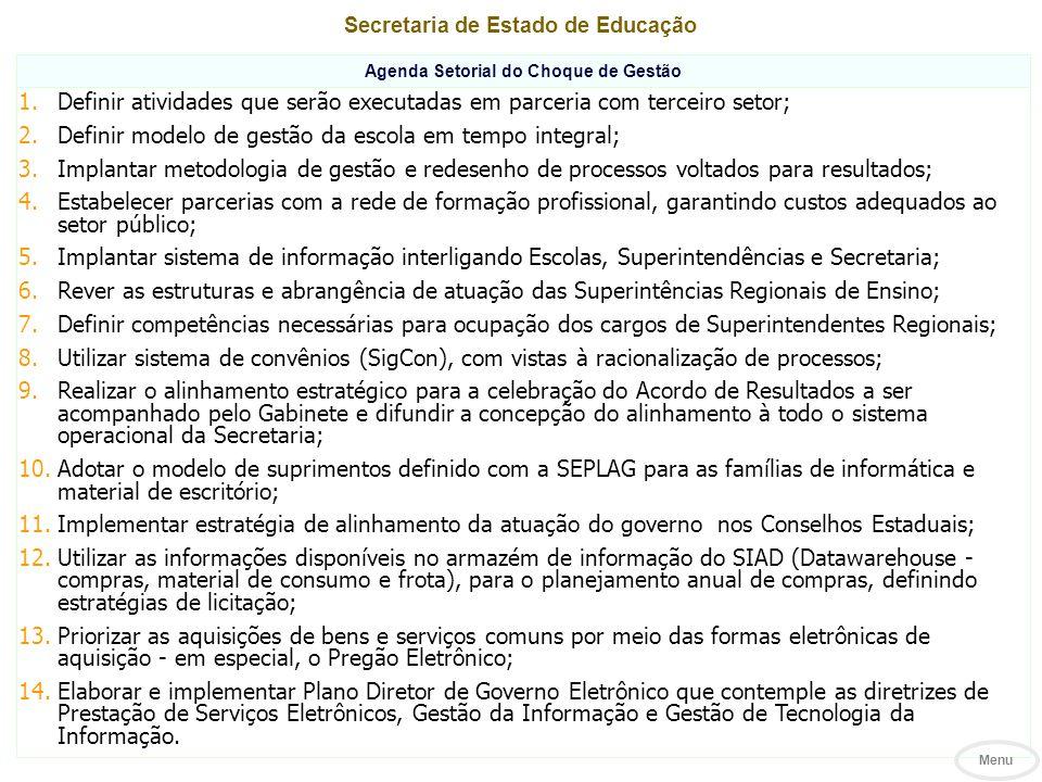 Secretaria de Estado de Educação Agenda Setorial do Choque de Gestão