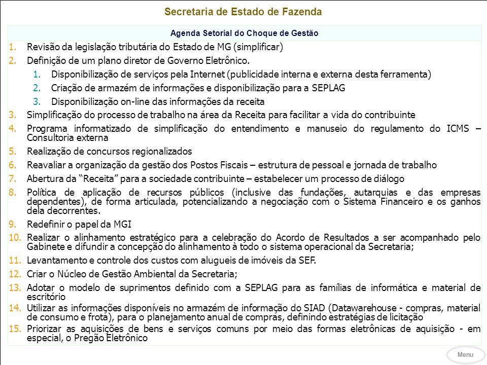 Secretaria de Estado de Fazenda Agenda Setorial do Choque de Gestão
