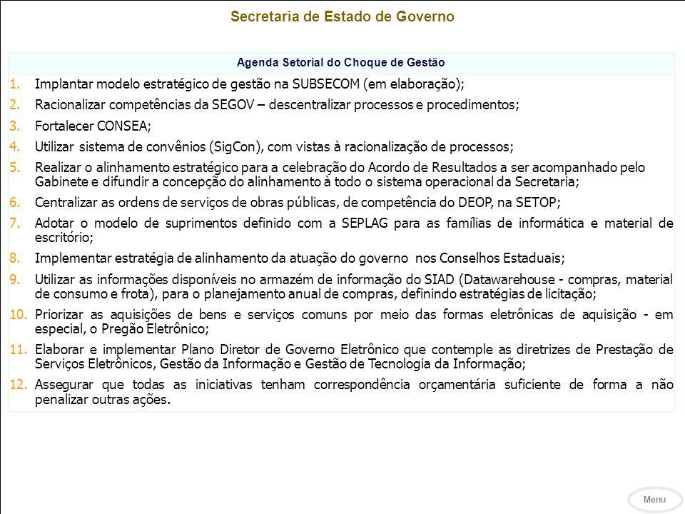 Secretaria de Estado de Governo Agenda Setorial do Choque de Gestão