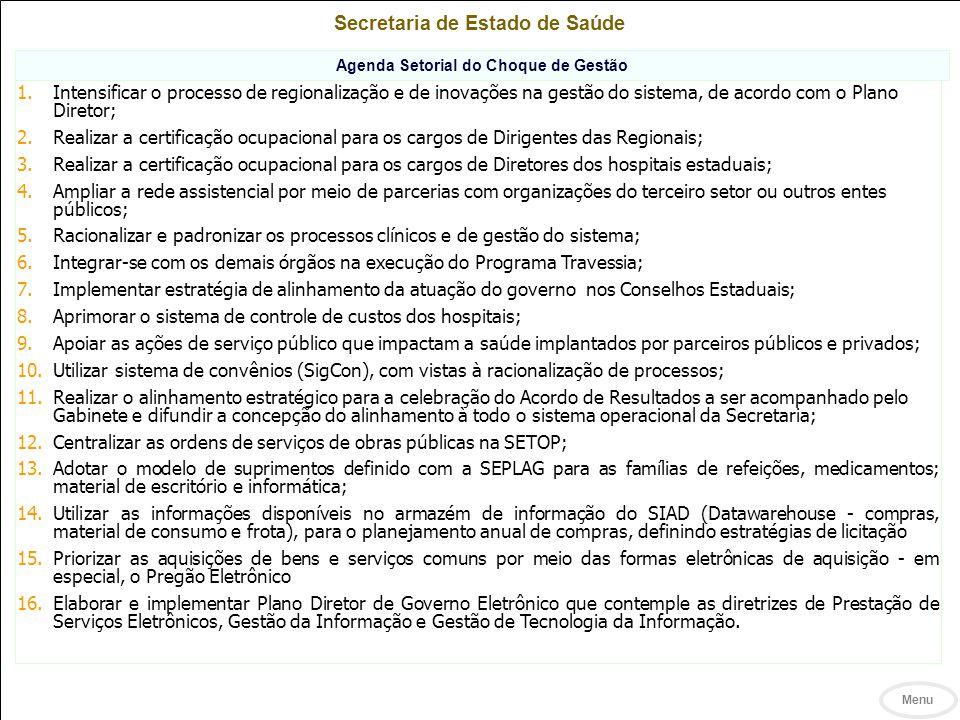 Secretaria de Estado de Saúde Agenda Setorial do Choque de Gestão