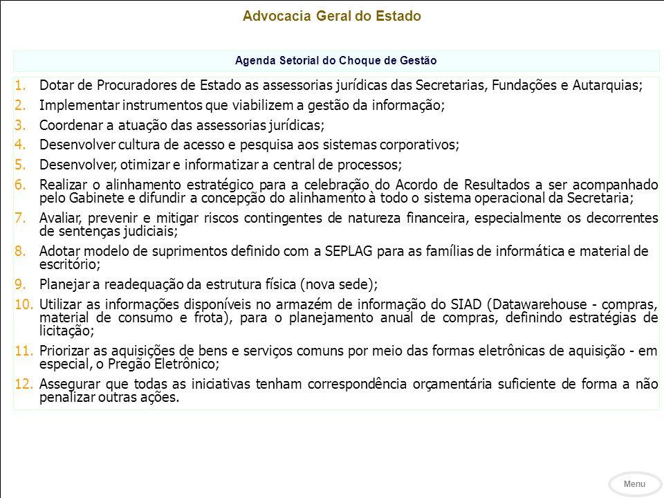 Advocacia Geral do Estado Agenda Setorial do Choque de Gestão