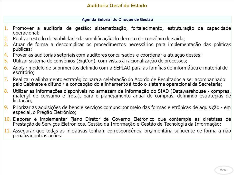 Auditoria Geral do Estado Agenda Setorial do Choque de Gestão