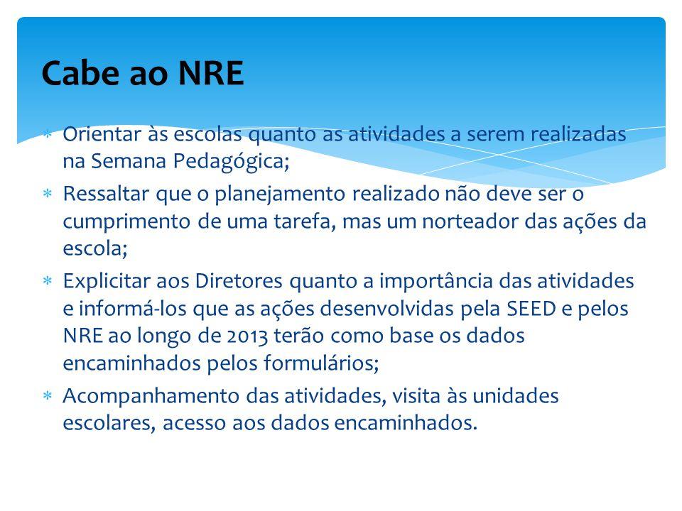 Cabe ao NRE Orientar às escolas quanto as atividades a serem realizadas na Semana Pedagógica;