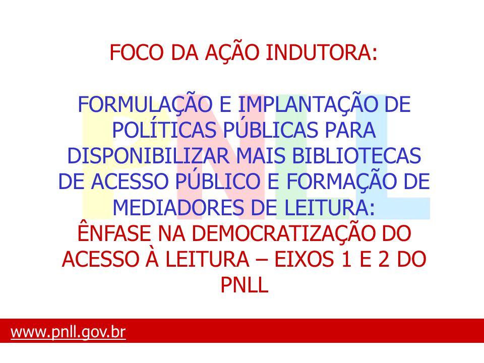 ÊNFASE NA DEMOCRATIZAÇÃO DO ACESSO À LEITURA – EIXOS 1 E 2 DO PNLL