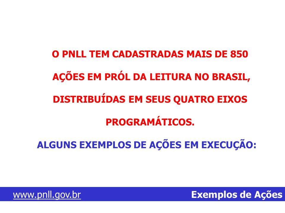 O PNLL TEM CADASTRADAS MAIS DE 850 AÇÕES EM PRÓL DA LEITURA NO BRASIL,