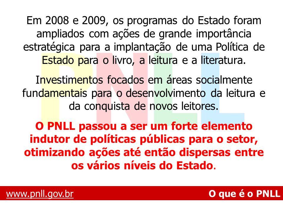 Em 2008 e 2009, os programas do Estado foram ampliados com ações de grande importância estratégica para a implantação de uma Política de Estado para o livro, a leitura e a literatura.