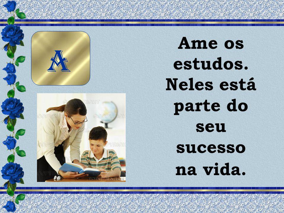 Ame os estudos. Neles está parte do seu sucesso na vida.