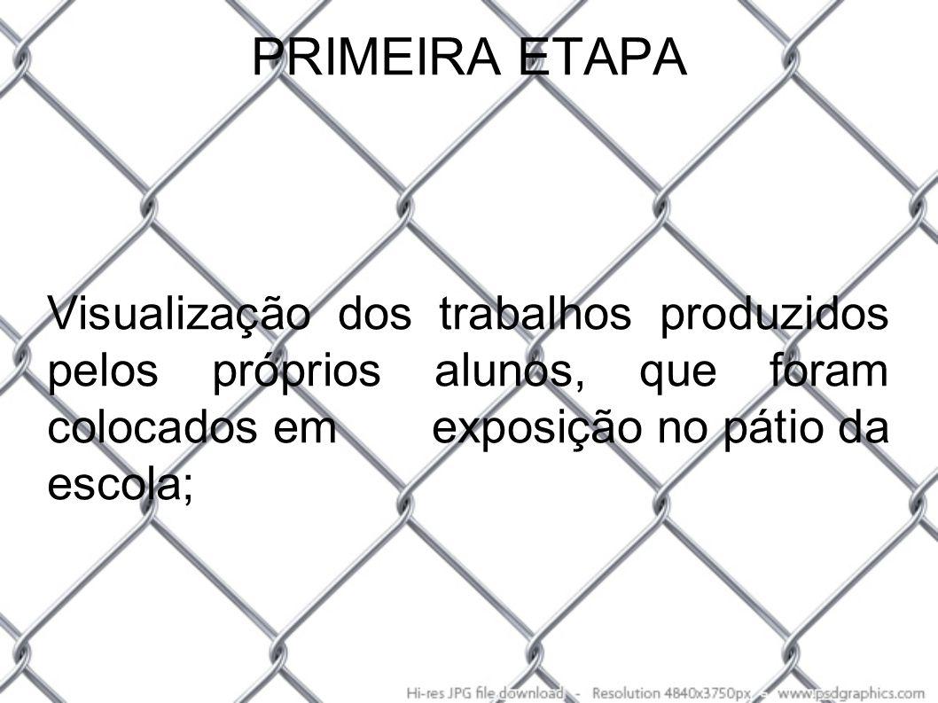 PRIMEIRA ETAPA Visualização dos trabalhos produzidos pelos próprios alunos, que foram colocados em exposição no pátio da escola;