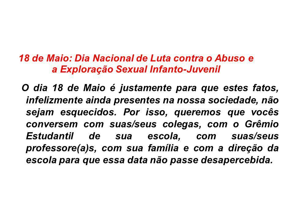 18 de Maio: Dia Nacional de Luta contra o Abuso e a Exploração Sexual Infanto-Juvenil