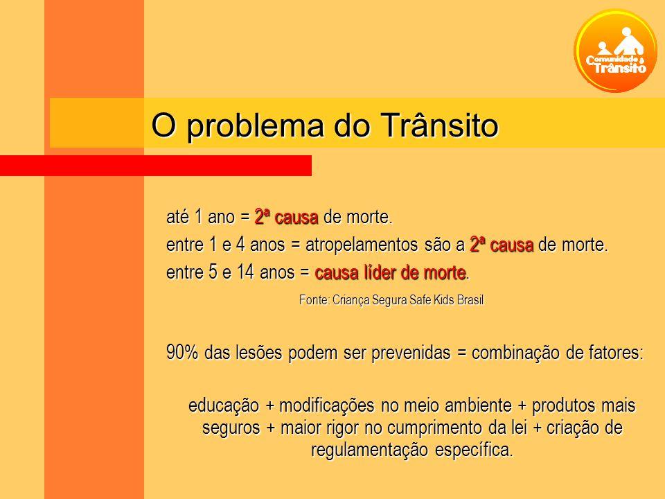 O problema do Trânsito até 1 ano = 2ª causa de morte.