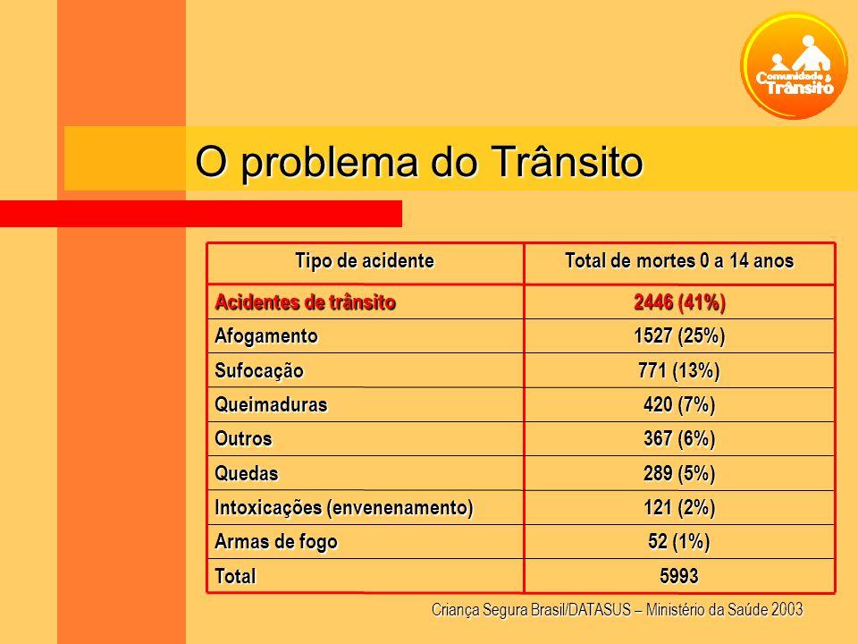 O problema do Trânsito 5993 Total 52 (1%) Armas de fogo 121 (2%)