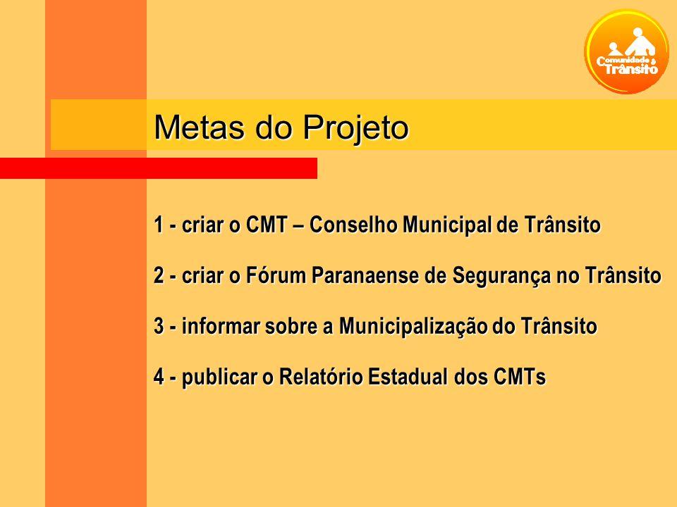 Metas do Projeto 1 - criar o CMT – Conselho Municipal de Trânsito