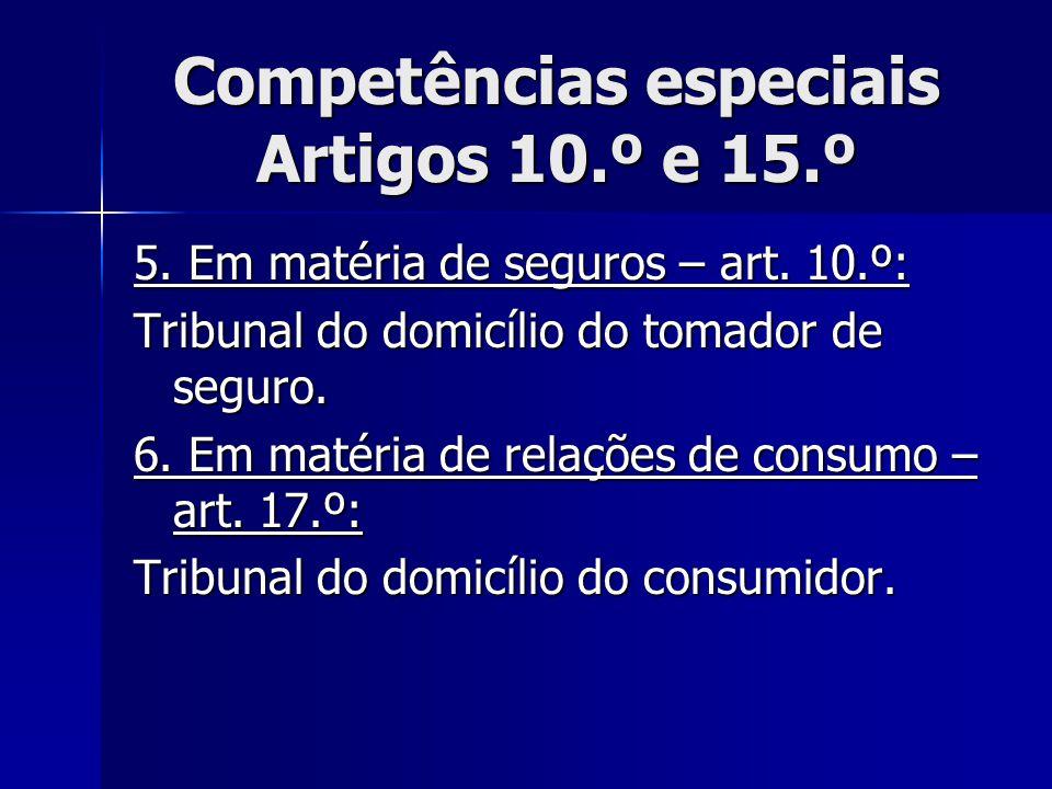 Competências especiais Artigos 10.º e 15.º