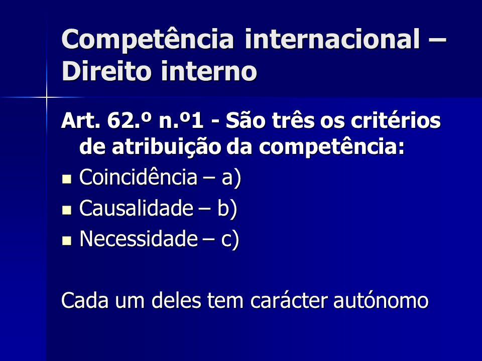 Competência internacional – Direito interno