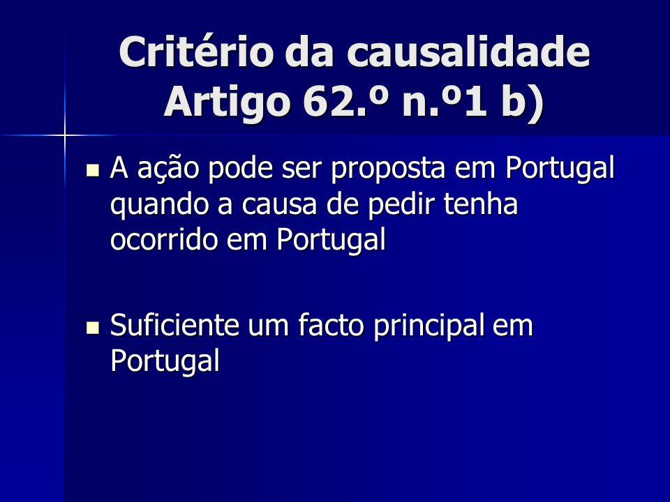 Critério da causalidade Artigo 62.º n.º1 b)
