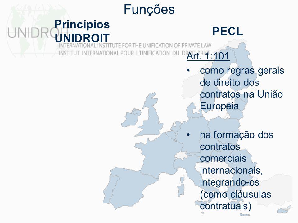 Funções Princípios UNIDROIT PECL Art. 1:101